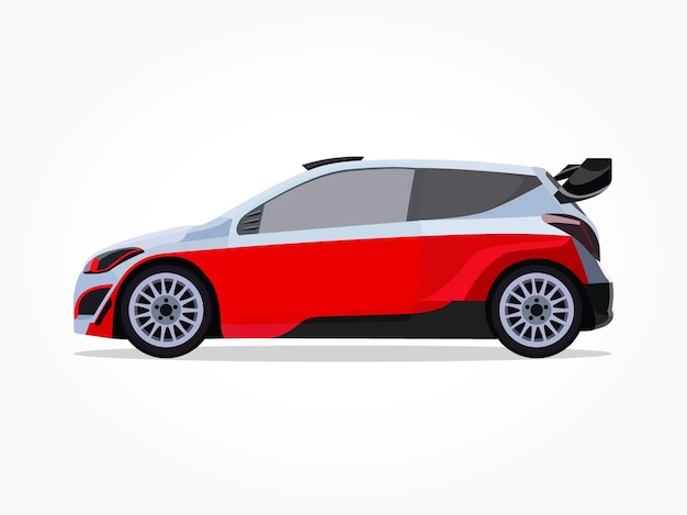 Dibujos animados de coche con portón trasero naranja blanco con efecto lateral y sombra detallada
