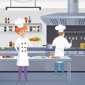 Dibujos animados cocinero sosteniendo listo plato en su mano