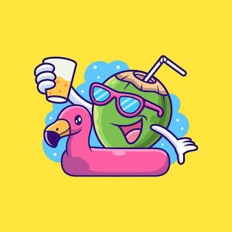 Dibujos animados de coco sobre neumáticos flamingo. ilustración de icono de vector de fruta, aislado en vector premium