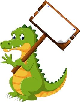 Dibujos animados de cocodrilo divertido feliz
