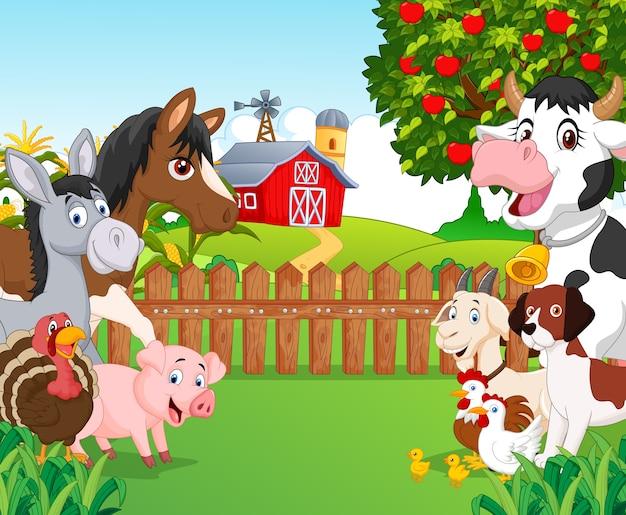 Dibujos animados de colección de animales felices.