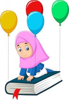 Dibujos animados colegiala musulmana volando en un libro