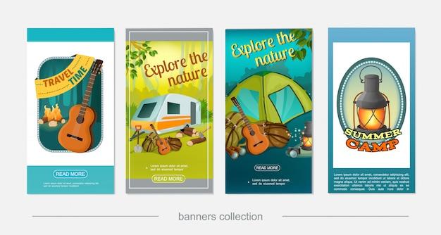Dibujos animados coloridos carteles verticales de camping con caravana caravana guitarra fogata hacha pala cámara binoculares linterna mochila