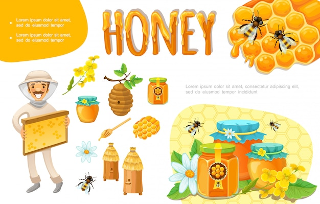 Dibujos animados coloridos elementos de apicultura con apicultor panal flores de abeja colmena tarros de cera de abejas de miel orgánica