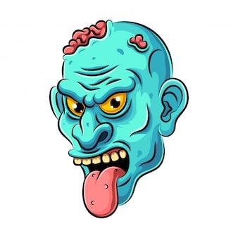 Dibujos animados coloridos enojados divertidos personajes de monstruos zombies muertos azules con cerebro y lengua.