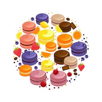 Dibujos animados coloridos macarrones sabrosos concepto redondo con frutas, chocolate y granos de café aislados ilustración