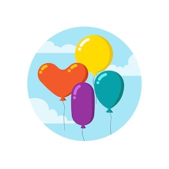 Dibujos animados coloridos montón de globos.
