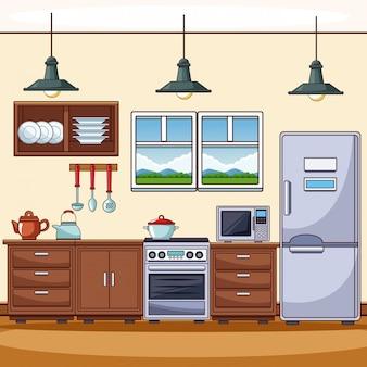 Kitchen scenery fotos y vectores gratis - Cocina dibujo ...