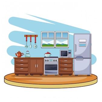 Dibujos animados coloridos del paisaje interior de la cocina