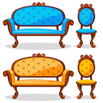 Dibujos animados coloridos retro silla y sofá