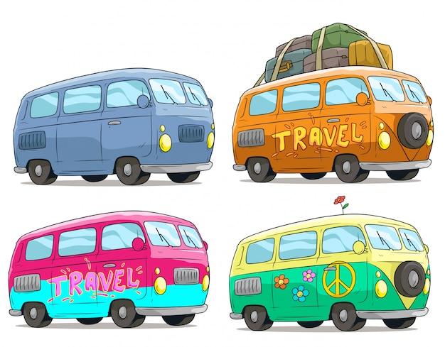 Dibujos animados coloridos retro van bus con signo de la paz