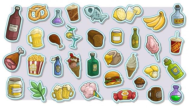 Dibujos animados de comida rápida y bebidas vector pegatinas