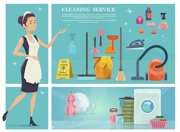 Dibujos animados composición de limpieza de la casa con mucama lavadora escoba toallas limpio plato vasos aspiradora hierro jabón esponja fregona cubo