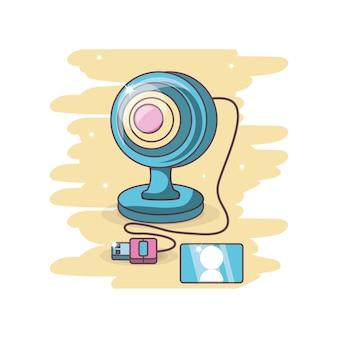 Dibujos Animados De Computadora Web Cam Vector Premium