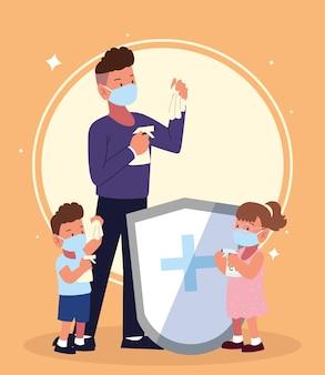 Dibujos animados de conciencia de prevención de covid familiar