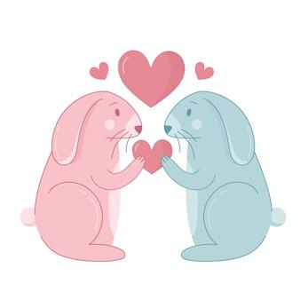 Dibujos animados de conejo para pareja de san valentín