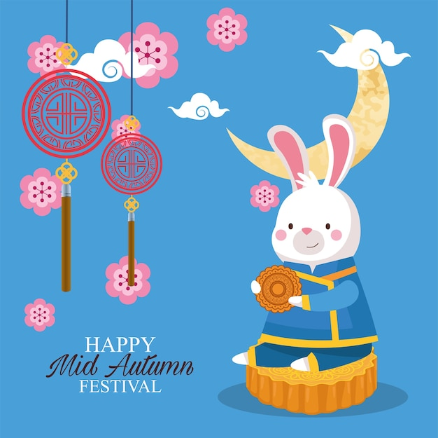 Dibujos animados de conejo en tela tradicional en el diseño de pastel de luna, feliz festival de la cosecha de mediados de otoño chino oriental y tema de celebración