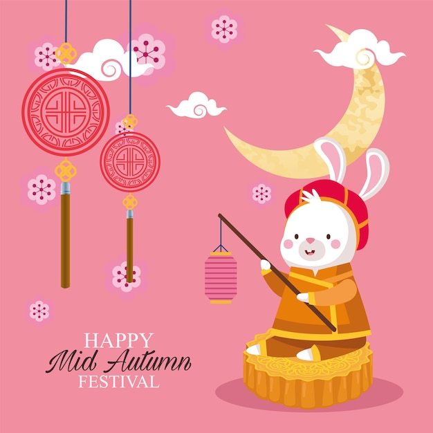Dibujos animados de conejo en tela tradicional con linterna en diseño de pastel de luna, feliz festival de la cosecha de mediados de otoño chino oriental y tema de celebración