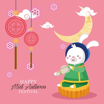 Dibujos animados de conejo en tela tradicional con tetera y taza en diseño de pastel de luna, feliz festival de la cosecha de mediados de otoño chino oriental y tema de celebración