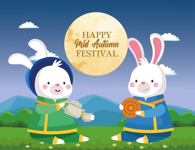 Dibujos animados de conejos en tela tradicional con diseño de taza de tetera y pastel de luna, feliz festival de la cosecha de mediados de otoño chino oriental y tema de celebración