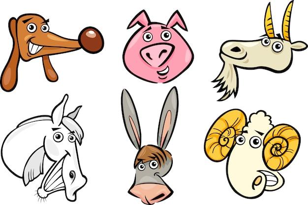 Dibujos animados conjunto de cabezas de animales de granja