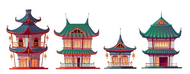 Dibujos animados de construcción de casas chino tradicional