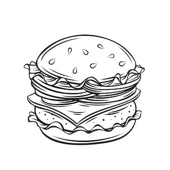 Dibujos animados de contorno de hamburguesa o hamburguesa con queso