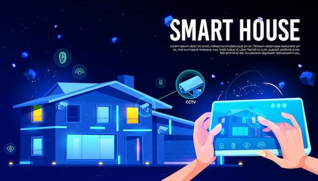 Dibujos animados de control remoto de casa inteligente