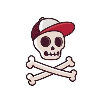 Dibujos animados cráneo humano en gorra de béisbol con tibias cruzadas.