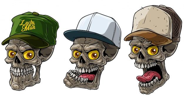 Dibujos animados de cráneo humano en gorra de camionero con ojo amarillo