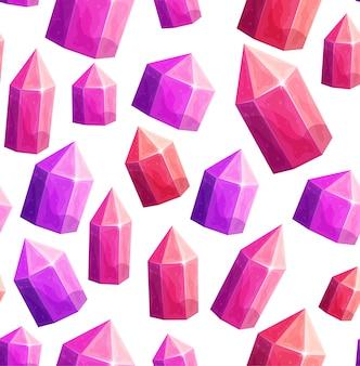 Dibujos animados de cristales de gema rubí de patrones sin fisuras.