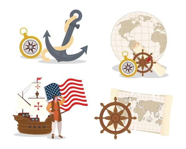 Dibujos animados de cristóbal colón con barco y diseño de conjunto de iconos de feliz día de colón américa y tema de descubrimiento