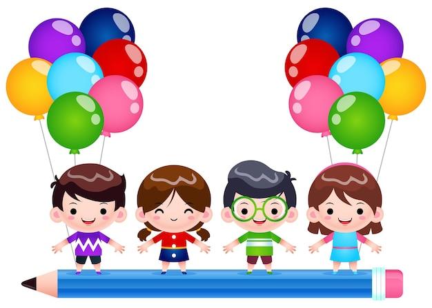 Dibujos animados de cuatro niños montando en lápiz volador