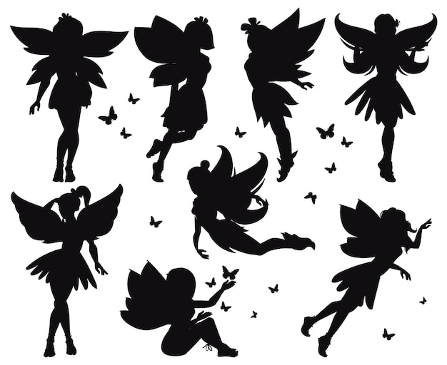 Dibujos animados de cuento de hadas mágicas pequeñas siluetas de hadas. niñas mágicas hadas volando con mariposas conjunto de ilustraciones vectoriales. criaturas de duendes de fantasía. hada belleza silueta negra, conjunto princesa