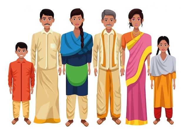Dibujos animados de cultura oriental asiática india