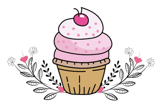 Dibujos animados de cupcake de panadería