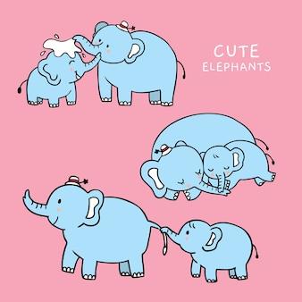 Dibujos animados cute mamá y bebé elefantes vector.