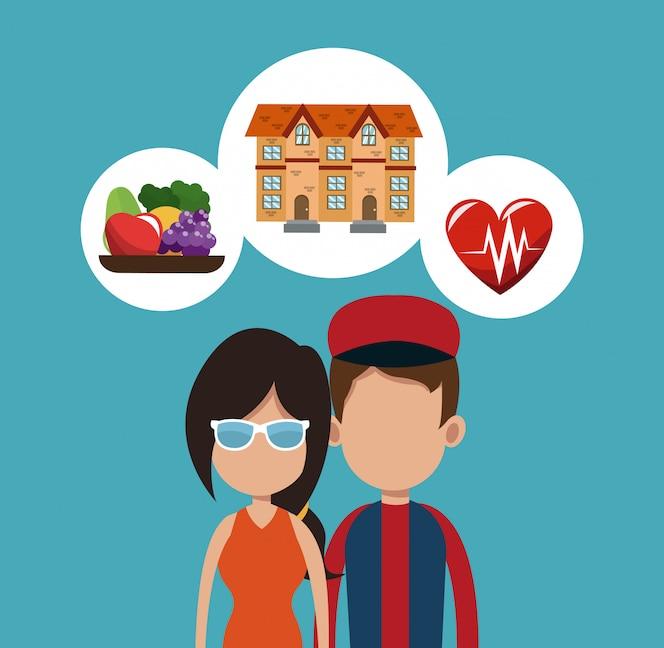 Dibujos animados de bienes raíces, comida y salud