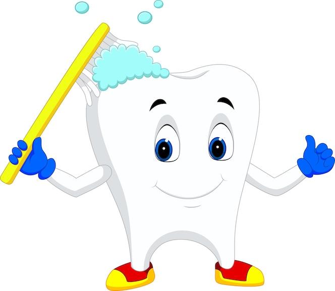 Dibujos animados de dientes con cepillo de dientes