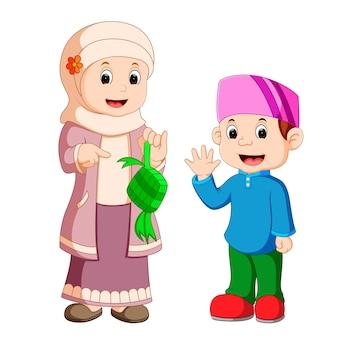 Dibujos animados de familia musulmana