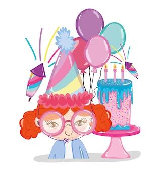 Dibujos animados de fiesta de cumpleaños de niña