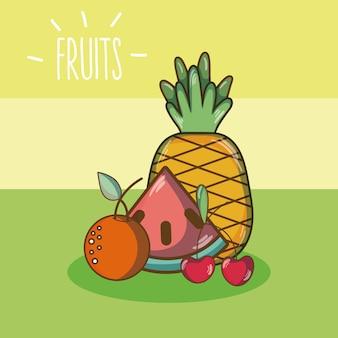 Dibujos animados de frutas dulces sobre fondo multicolor