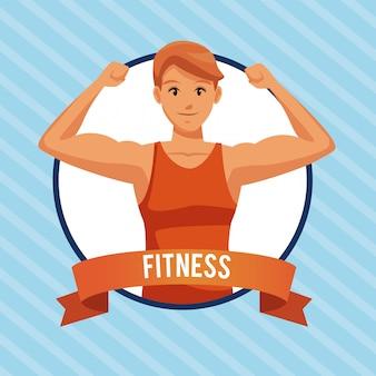 Dibujos animados de hombre de fitness en icono redondo con banner de cinta