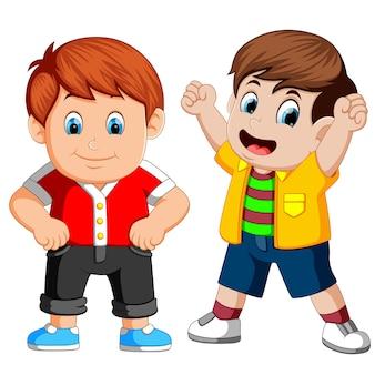 Dibujos animados de niño feliz