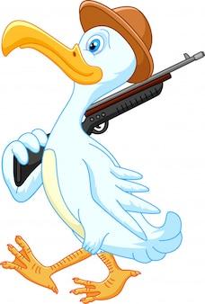 Dibujos animados de pato caminando con rifle