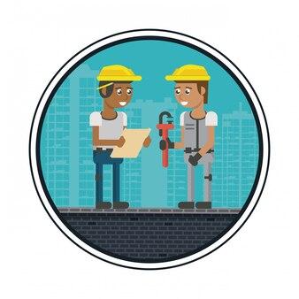 Dibujos animados de trabajadores de construcción
