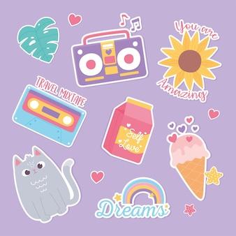 Dibujos animados de decoración de pegatinas de piña flor hoja helado gato arco iris ilustración