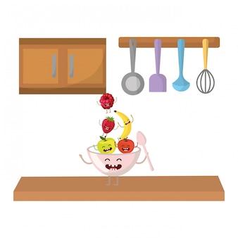 Dibujos animados de deliciosas frutas sabrosas