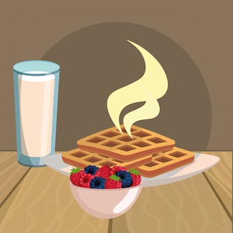 Dibujos animados delicioso desayuno sabroso