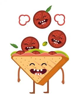 Dibujos animados delicioso sándwich sabroso